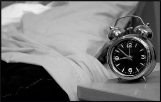 clock and bed